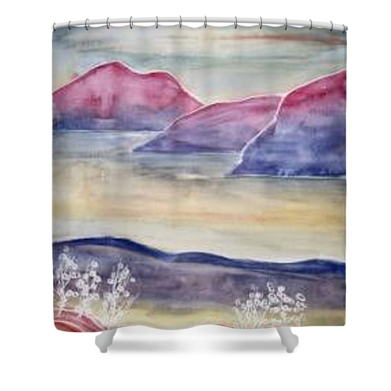 Watercolor Shower Curtain featuring the painting Tranquility 2 Mountain Modern Surreal Painting Print by Derek Mccrea