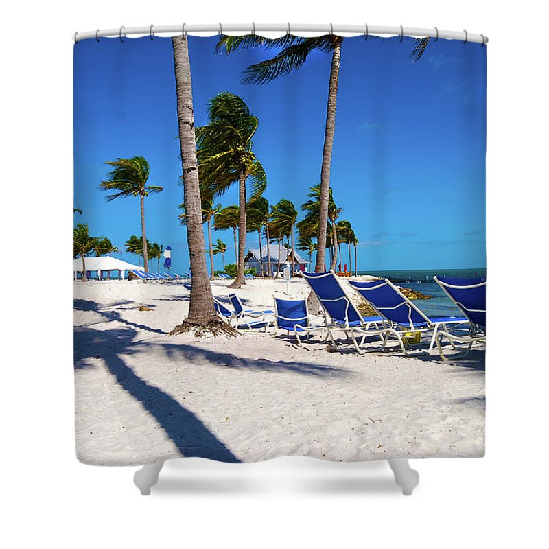 Tree Shower Curtain featuring the photograph Tranquility Bay Beach Paradise by Randy Aveille