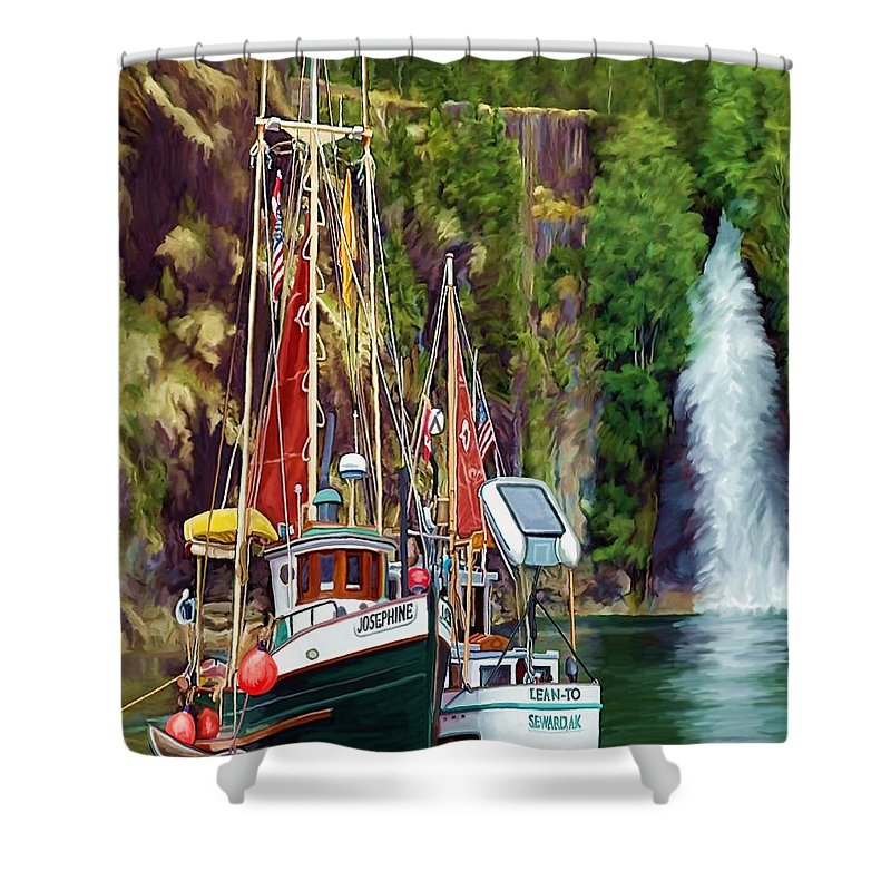 Boats Shower Curtain featuring the painting Tranquility by David Wagner