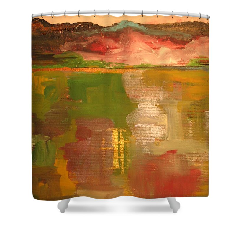 Abstract Shower Curtain featuring the painting Tranquility by Erika Avery