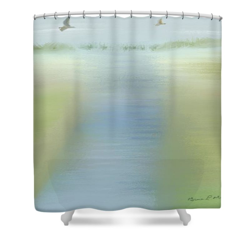 Mixed Shower Curtain featuring the painting Tranquility by Gina Lee Manley
