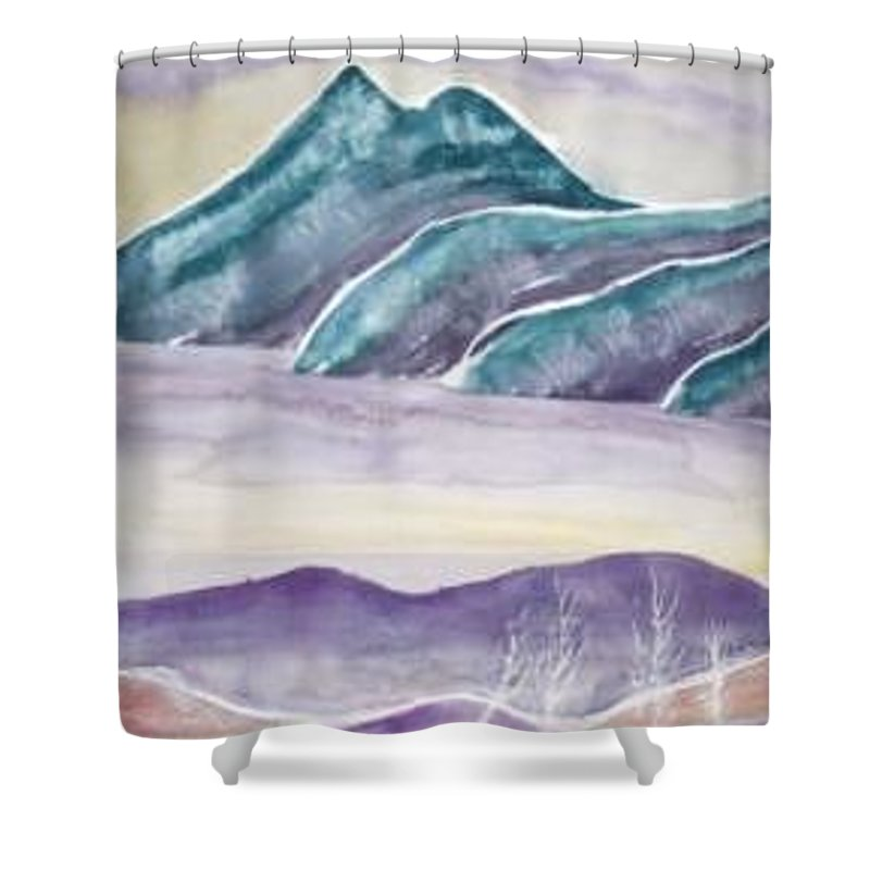 Watercolor Shower Curtain featuring the painting TRANQUILITY landscape mountain surreal modern fine art print by Derek Mccrea