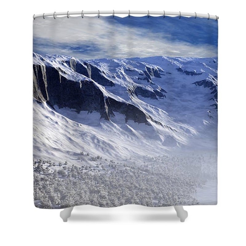 Mountains Shower Curtain featuring the digital art Tranquility by Richard Rizzo