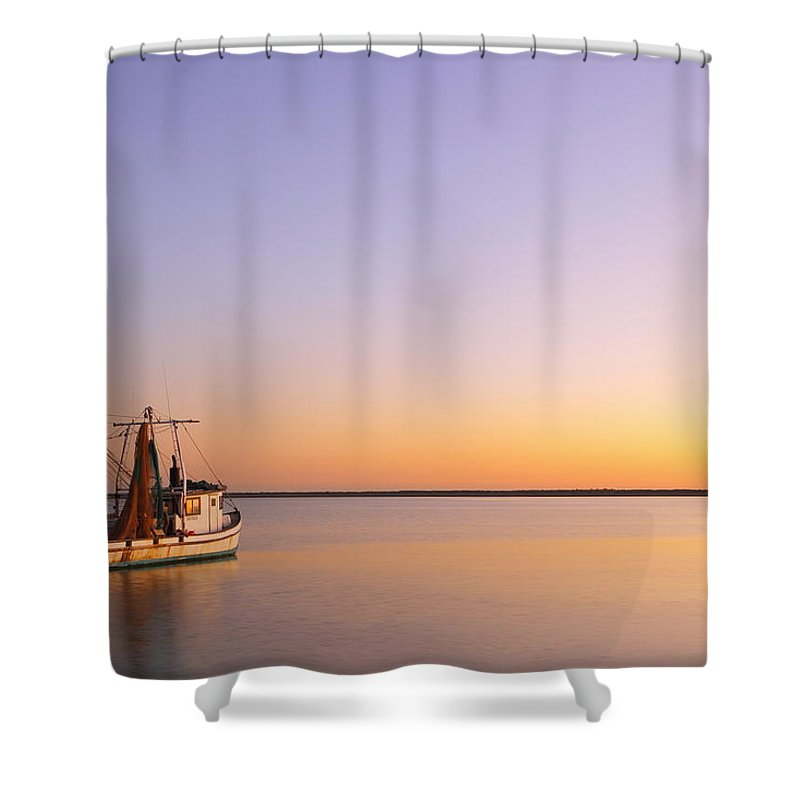 Texas City Shower Curtain featuring the photograph Shrimp Trawler At Dusk 2am-109249 by Andrew McInnes
