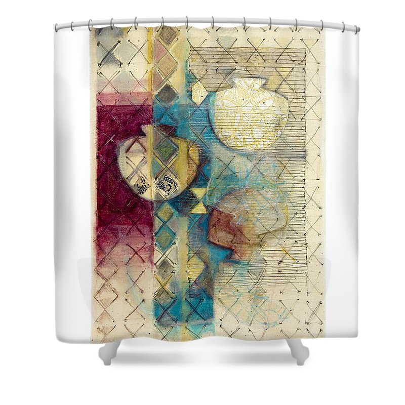 Mixed-media Shower Curtain featuring the painting Trans Xs No 1 by Kerryn Madsen- Pietsch