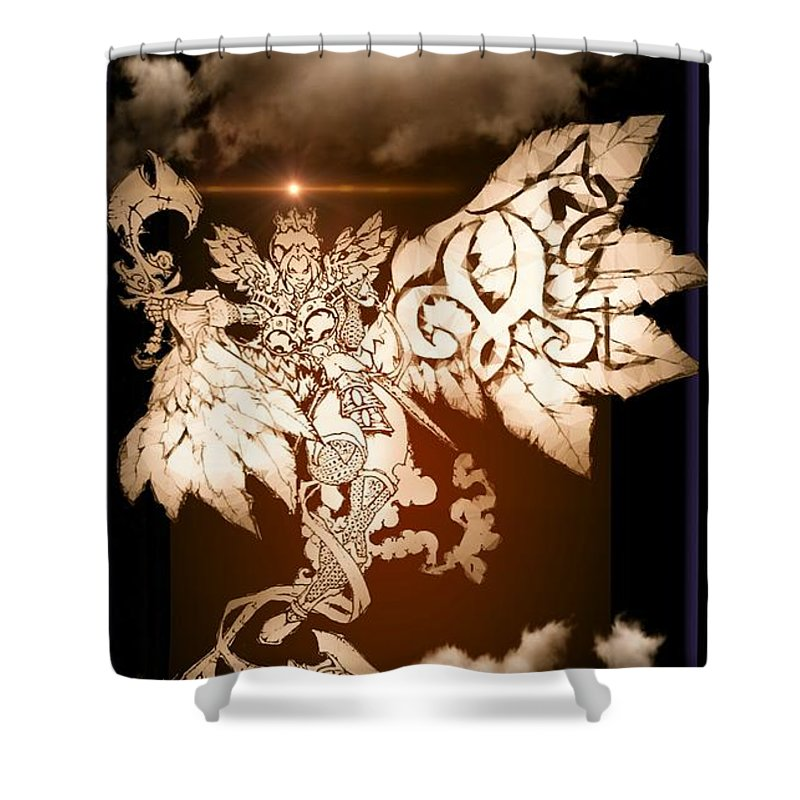 Fantasy Landscape Shower Curtain featuring the drawing Transcending Angel by Louis Williams