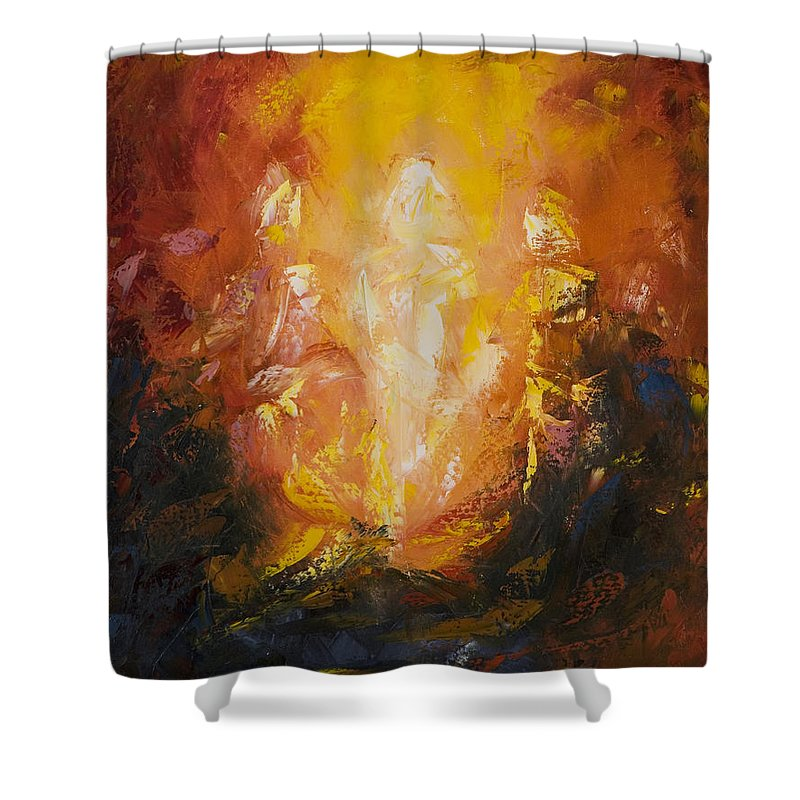 Abstract Shower Curtain featuring the painting Transfiguration by Lewis Bowman