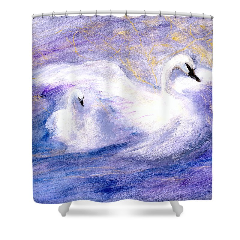 Birds Shower Curtain featuring the painting Transformation by Gail Kirtz