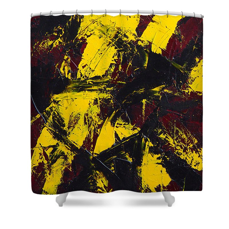Abstract Shower Curtain featuring the painting Transitions With Yelllow And Black by Dean Triolo