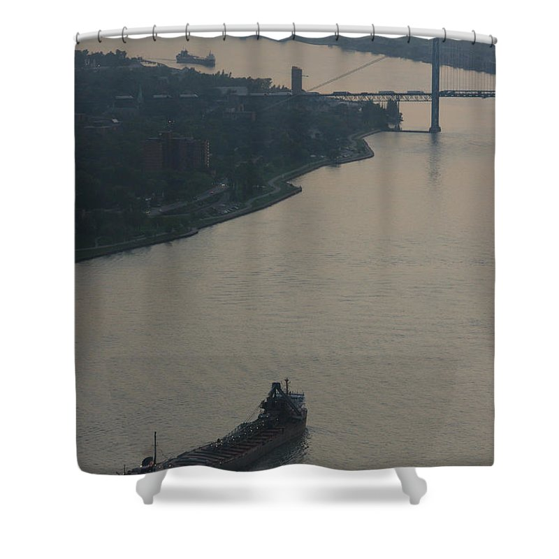 Detroit Shower Curtain featuring the photograph Transport On The Waterway by Linda Shafer