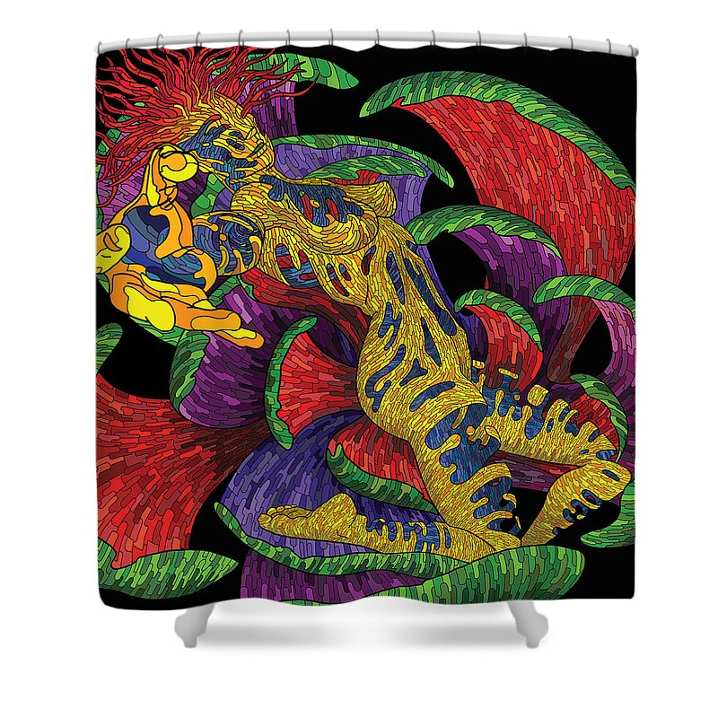Digital Shower Curtain featuring the digital art Trap by Erick Morell