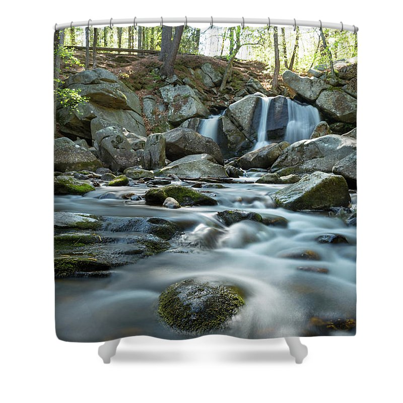 Trap Falls Ashby Ma Mass Massachusetts Island River Stream Brook Outside Outdoors Newengland New England U.s.a. Usa Nature Natural Trees Rocks Forest Secluded Brian Hale Brianhalephoto Longexposure Long Exposure Spring Shower Curtain featuring the photograph Trap Falls In Spring 4 by Brian Hale