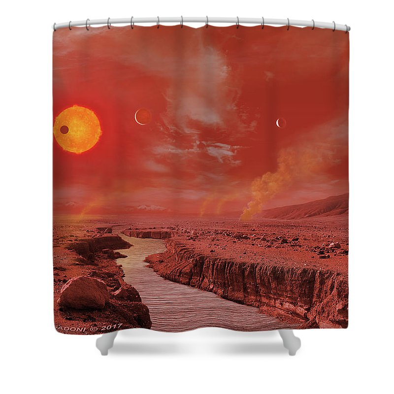 Astronomy Shower Curtain Featuring The Digital Art Trappist 1 Planetary System Surface View By