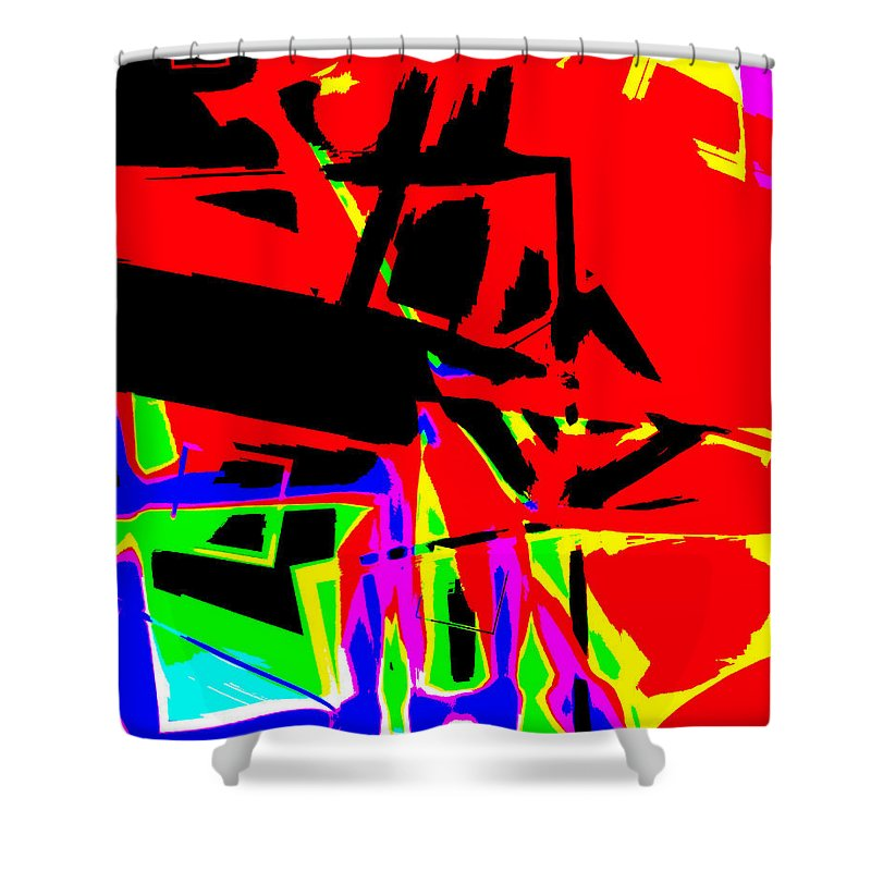 Tractor Shower Curtain featuring the digital art Trator Crash by Lola Connelly