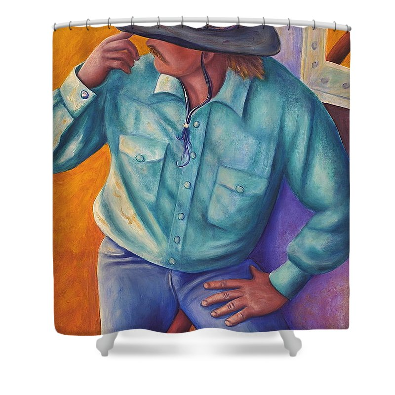 Cowboy Shower Curtain featuring the painting Travelin Man by Shannon Grissom