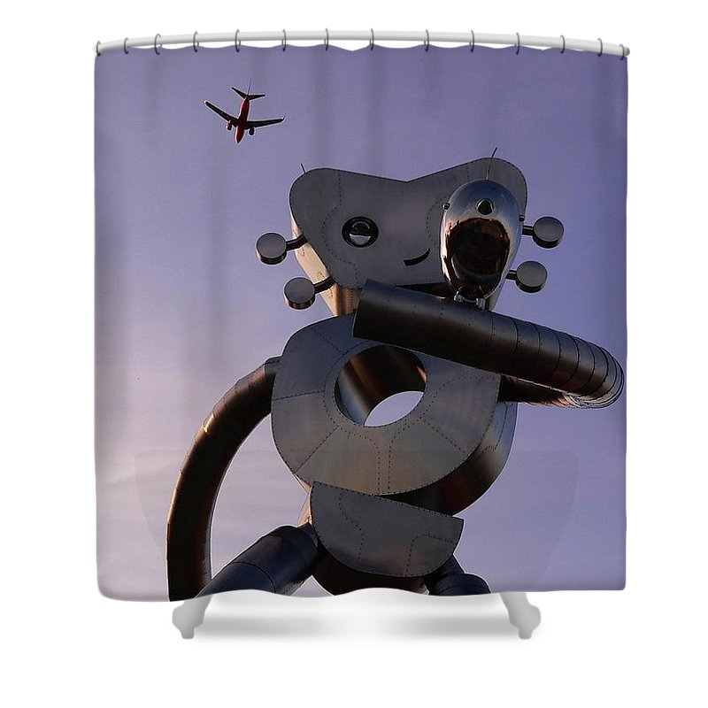 Metal Shower Curtain featuring the photograph Travelling Man by Angela Wright