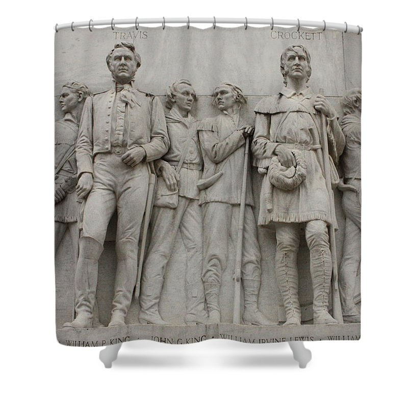 Alamo Shower Curtain featuring the photograph Travis and Crockett on Alamo Monument by Carol Groenen