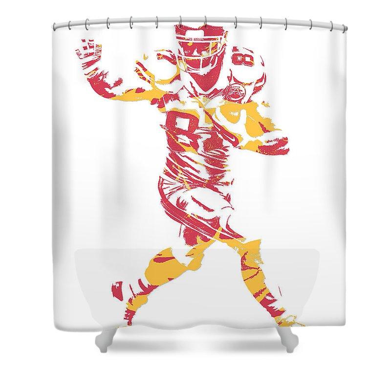 Travis Kelce Shower Curtain Featuring The Mixed Media Kansas City Chiefs Pixel Art 6