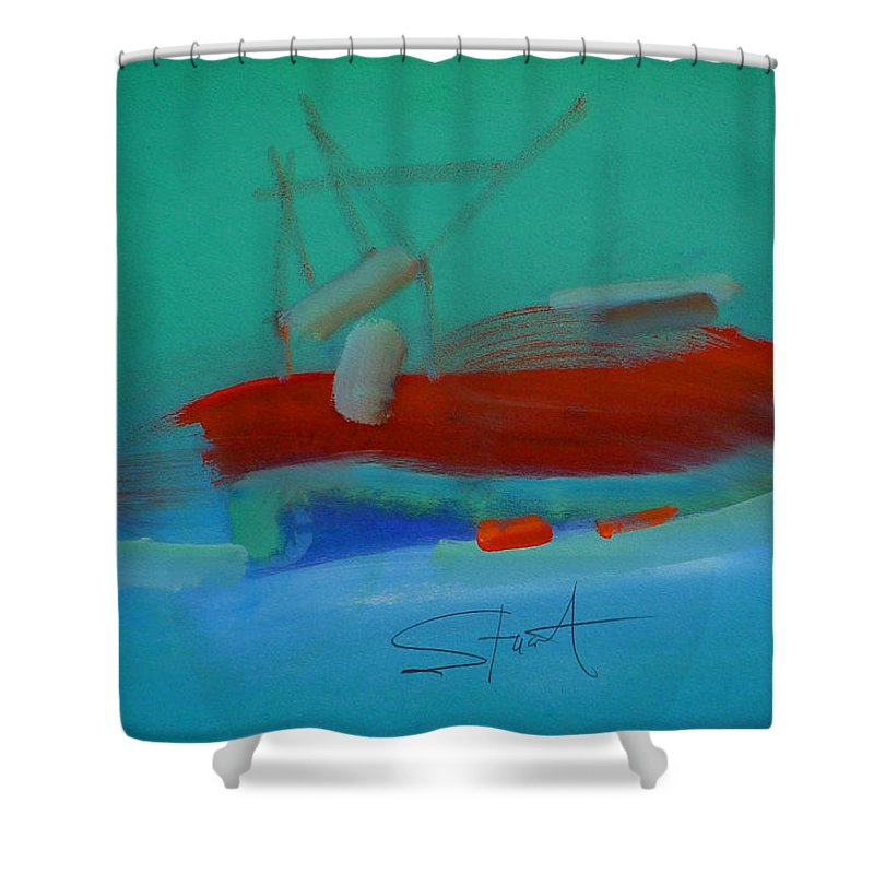 Fishing Boat Shower Curtain featuring the painting Trawler by Charles Stuart