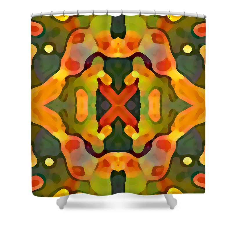 Abstract Shower Curtain featuring the painting Treasure by Amy Vangsgard