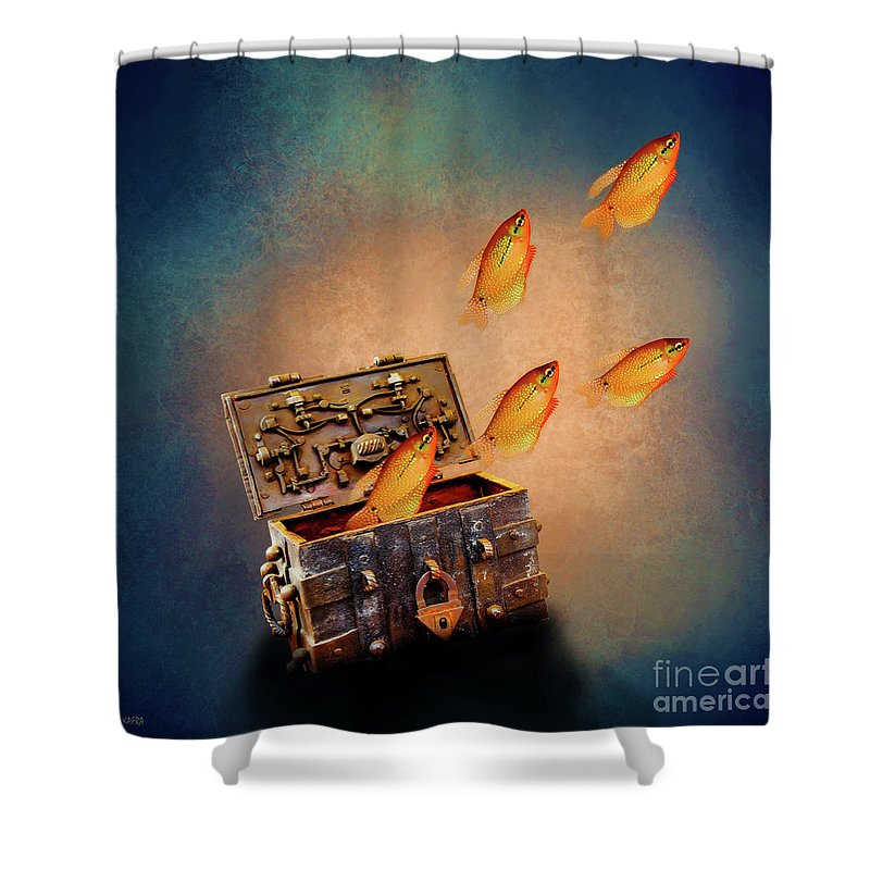 Treasure Chest Shower Curtain featuring the digital art Treasure Chest by KaFra Art