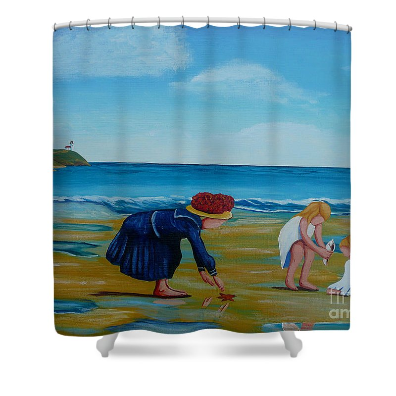 Girls Shower Curtain featuring the painting Treasure Hunting by Anthony Dunphy