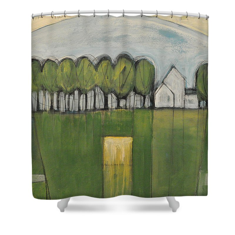 Woods Shower Curtain featuring the painting Treasure In The Yard by Tim Nyberg