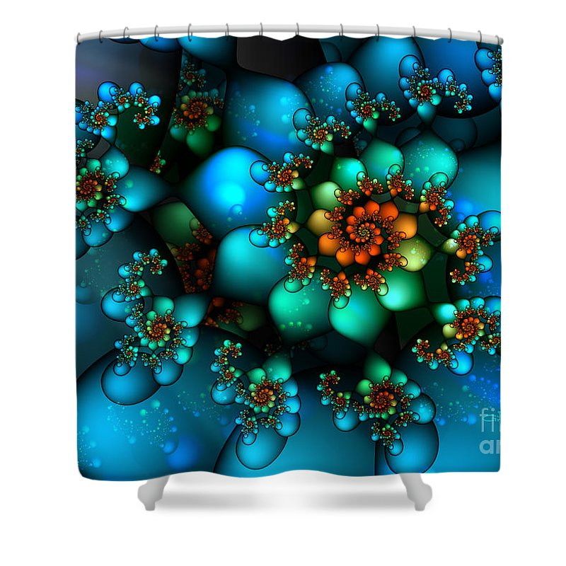 Fractal Shower Curtain featuring the digital art Treasure Of The Sea by Jutta Maria Pusl
