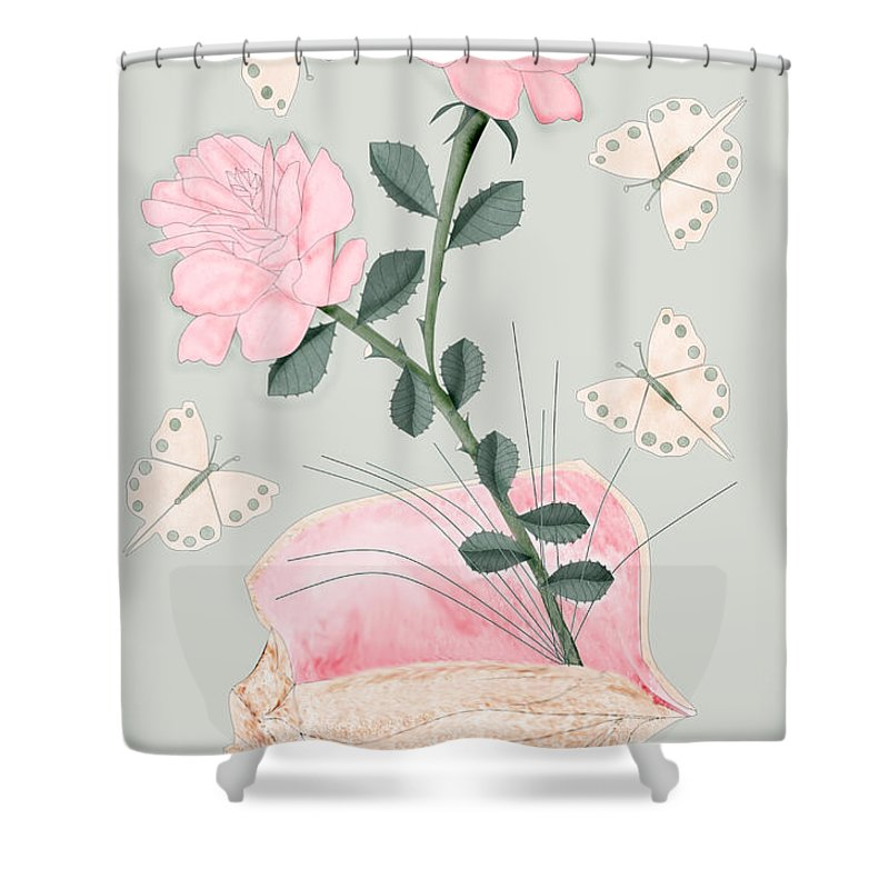 Conch Shell Shower Curtain featuring the painting Treasures by Anne Norskog