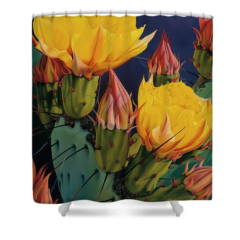 Flowers Shower Curtain featuring the painting Treasures In Highlight IIi by David Manje
