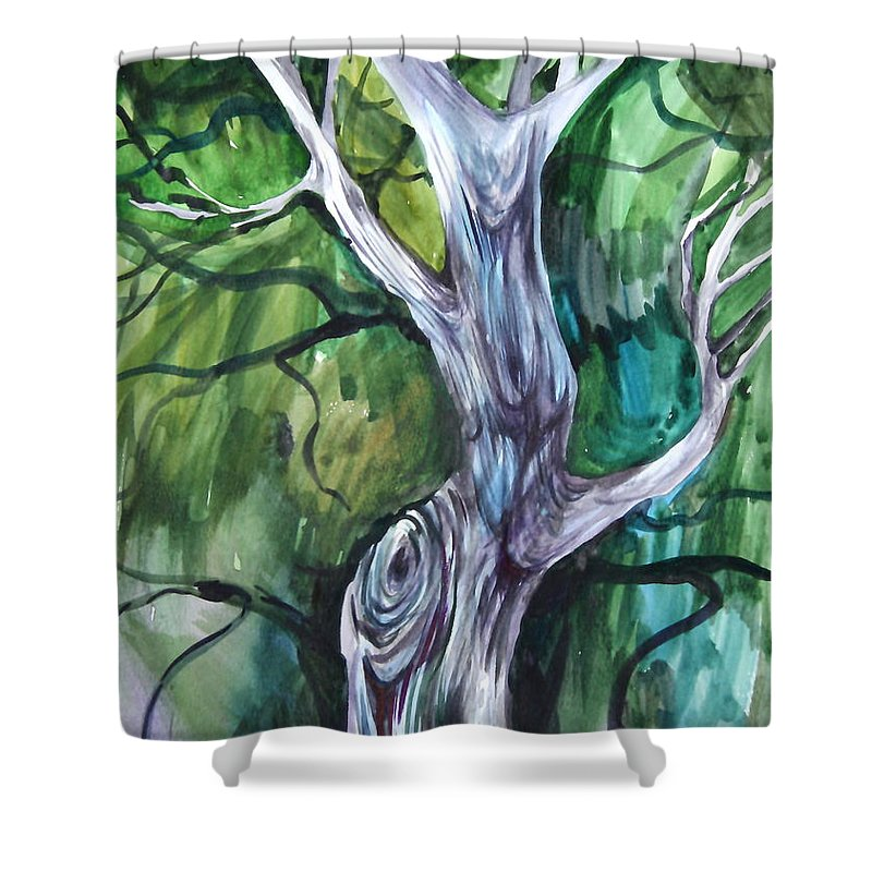 Watercolor Shower Curtain featuring the painting Tree by Anna Duyunova