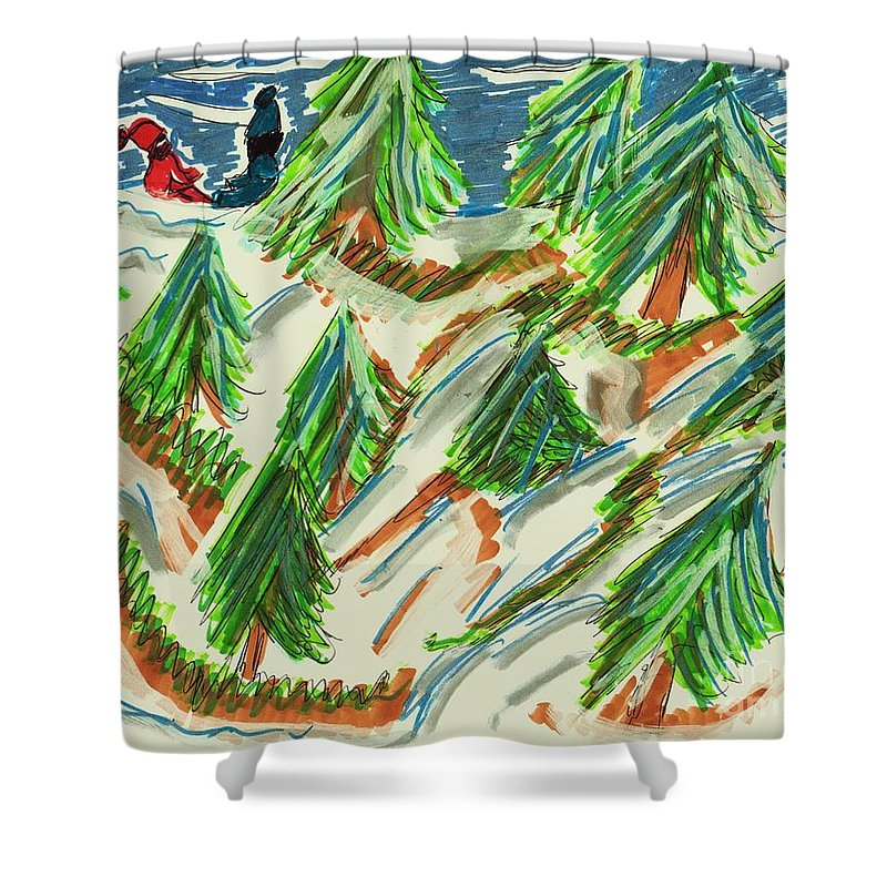 Pine Trees On A Tree Farm 2 Children In The Background Shower Curtain featuring the mixed media Tree Farm by Elinor Helen Rakowski