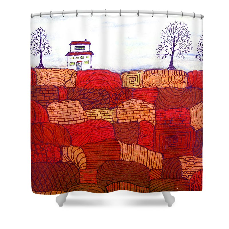 Farm Shower Curtain featuring the painting Tree Farm by Wayne Potrafka