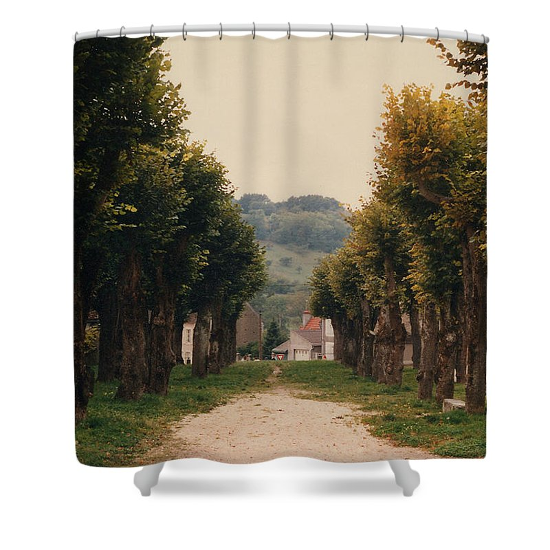 Trees Shower Curtain featuring the photograph Tree Lined Pathway In Lyon France by Nancy Mueller