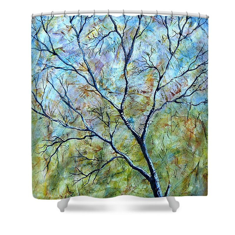 Shower Curtain featuring the painting Tree Number Two by Tami Booher