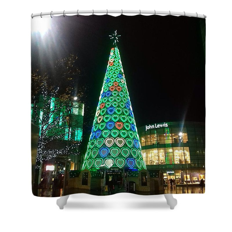 Xmas Tree Shower Curtain featuring the photograph Tree Of Hearts In Green by Joan-Violet Stretch
