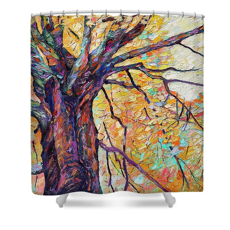 Oil Painting Shower Curtain featuring the painting Tree Of Life And Wisdom  by Abraham Fisher