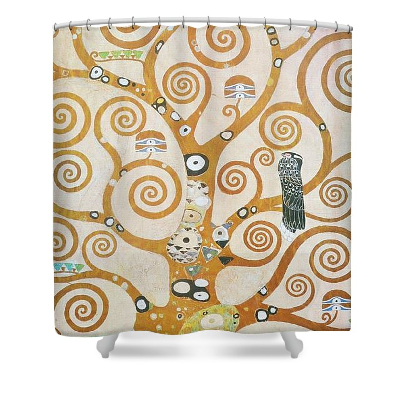 Gustav Klimt Shower Curtain Featuring The Painting Tree Of Life Detail By
