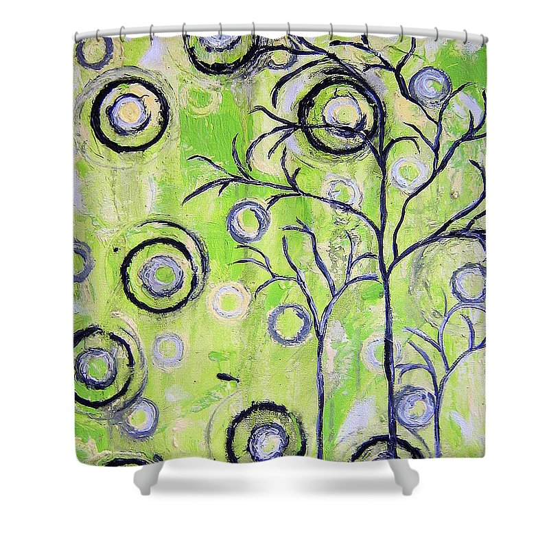Tree Of Life Shower Curtain featuring the painting Tree Of Life Spring Abstract Tree Painting by Kathy Augustine