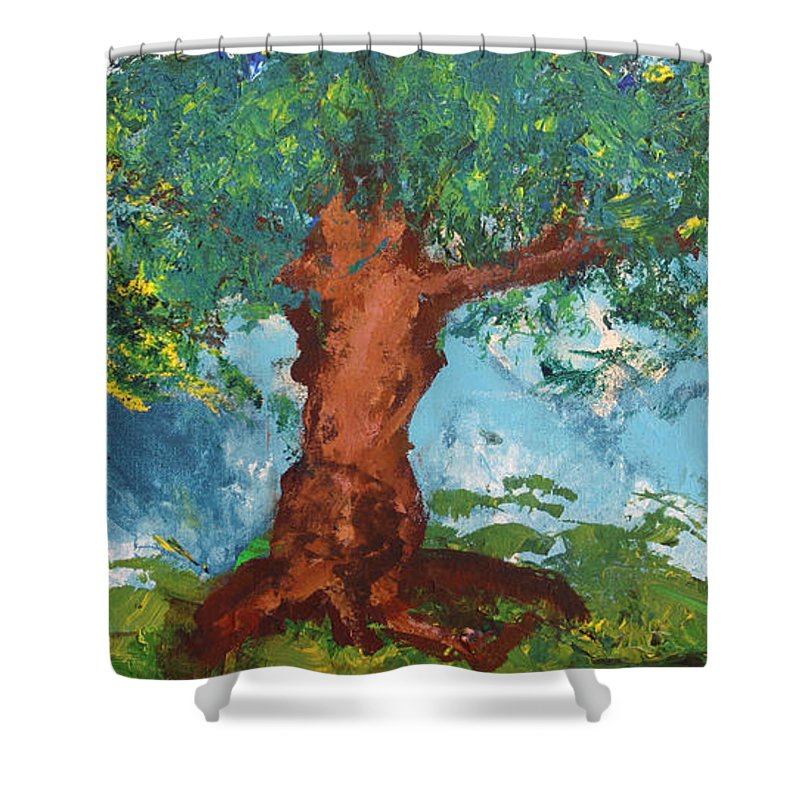 Tree Shower Curtain featuring the painting Tree Of Plenty by Empowered Creative Fine Art