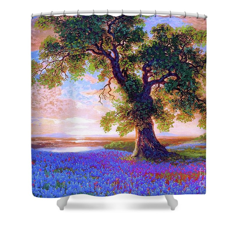 Sun Shower Curtain featuring the painting Bluebonnets by Jane Small