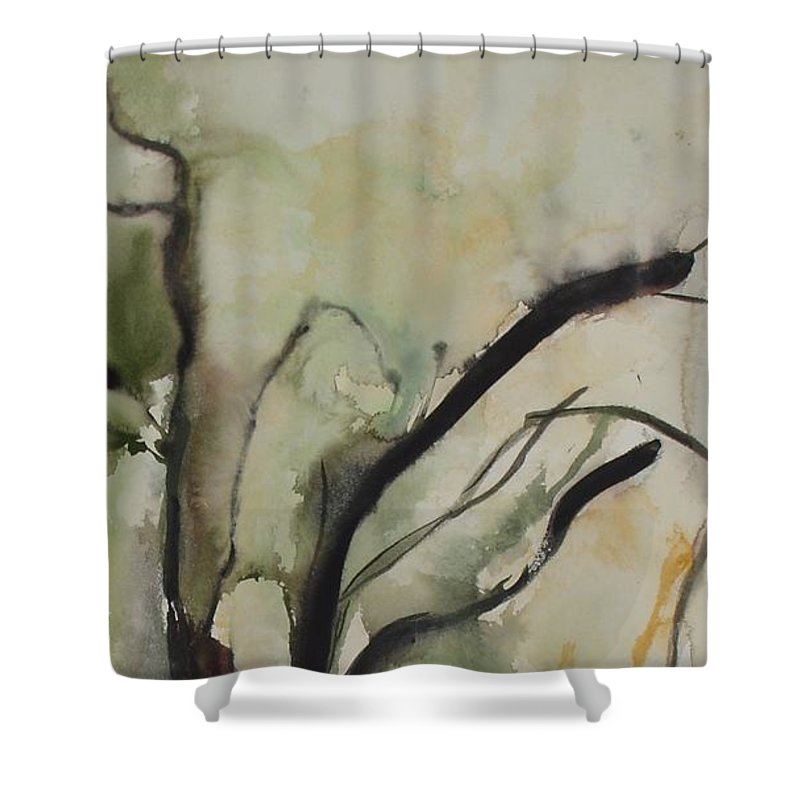 Tree Winter Abstract Original Painting Landscape Leila Atkinson Watercolor Wet On Wet Washes Trees Shower Curtain featuring the painting Tree Series V by Leila Atkinson