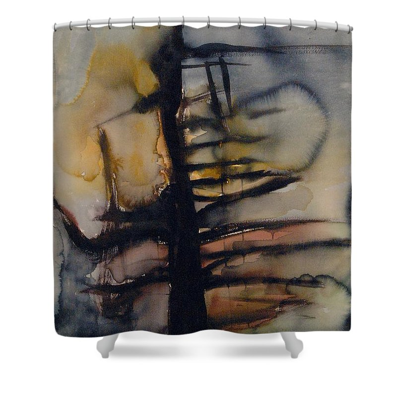 Tree Abstracted Original Watercolor Silhouette Open Branches Limbs Trees Shower Curtain featuring the painting Tree Series Vi by Leila Atkinson