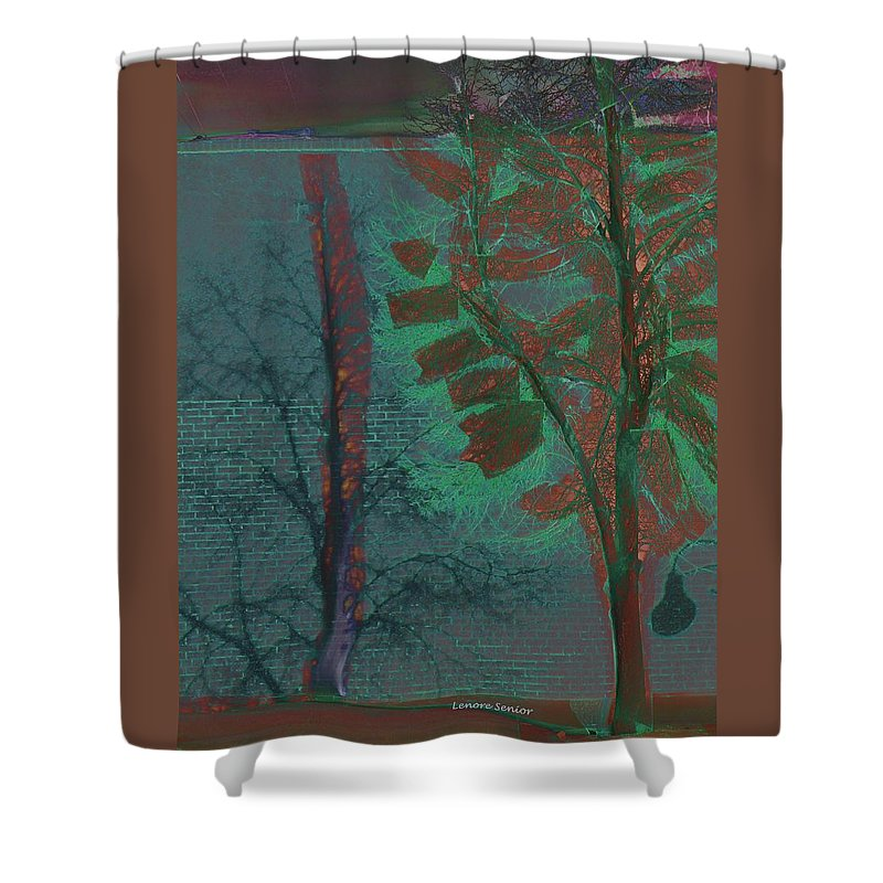 Abstract Shower Curtain featuring the mixed media Tree Shadows At Midnight by Lenore Senior