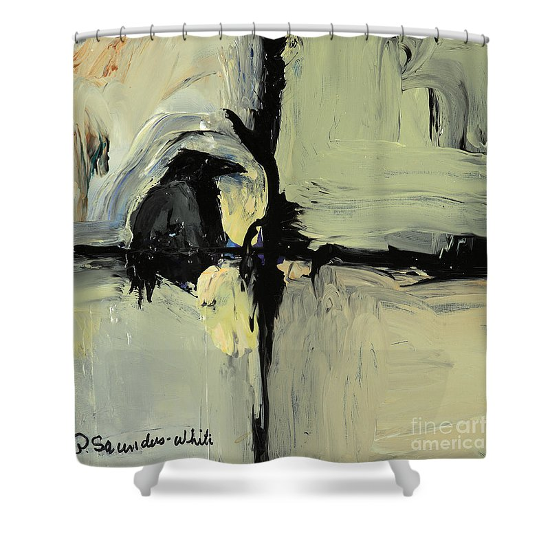 Crow Painting Shower Curtain featuring the painting Tree Talker by Pat Saunders-White