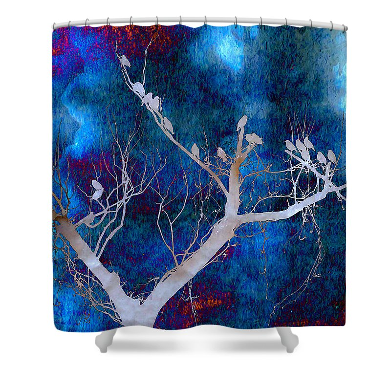Birds Shower Curtain featuring the photograph Tree Top Flock by Heather Hubbard