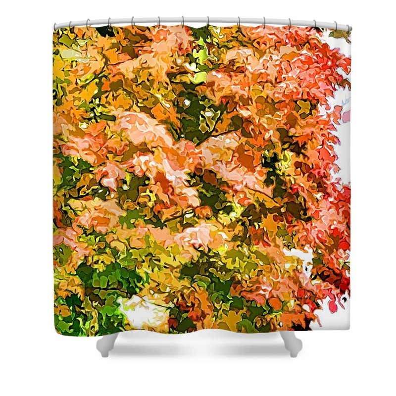 Tree With Autumn Leaves Shower Curtain featuring the painting Tree With Autumn Leaves by Jeelan Clark