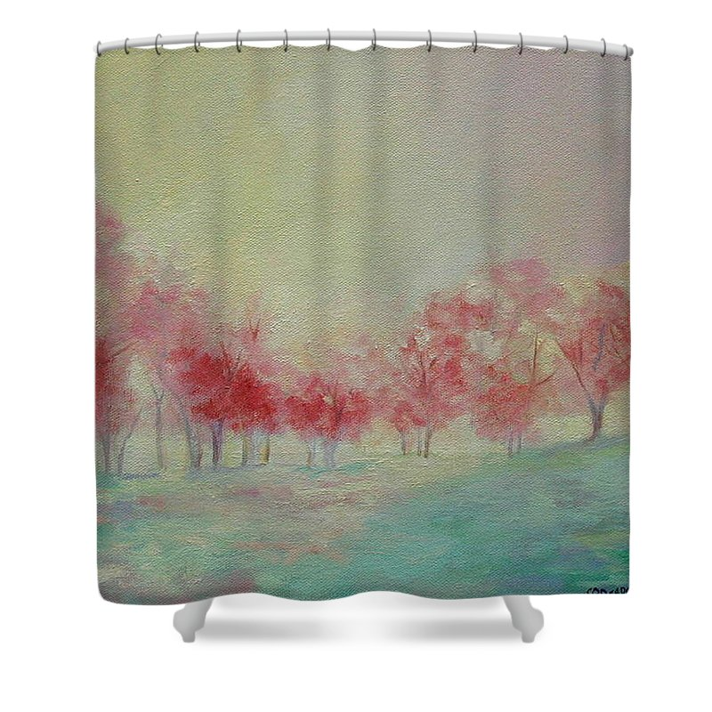 Impressionist Trees Shower Curtain featuring the painting Treeline by Ginger Concepcion