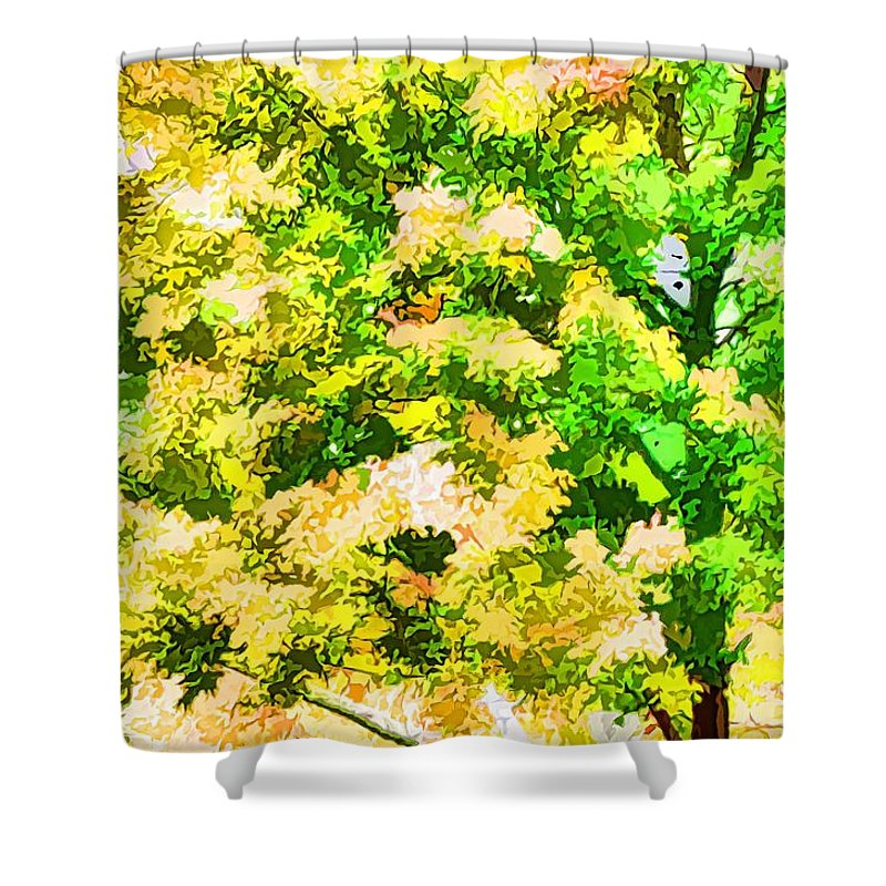 Trees And Leaves Shower Curtain featuring the painting Trees And Leaves 1 by Jeelan Clark