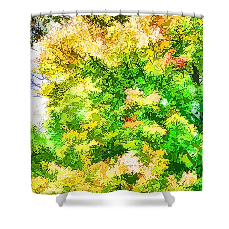 Trees And Leaves Shower Curtain featuring the painting Trees And Leaves by Jeelan Clark